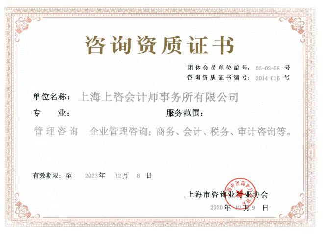 咨询资质证书