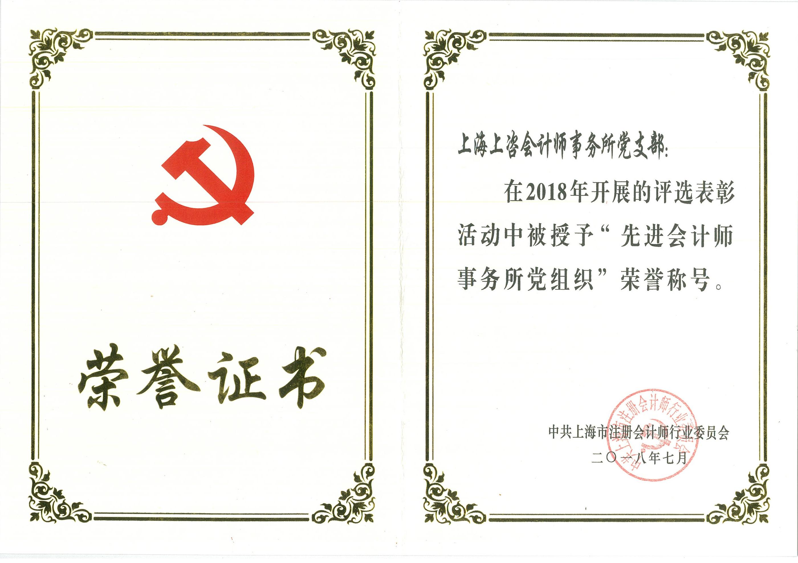 2018年先进会计师事务所党组织